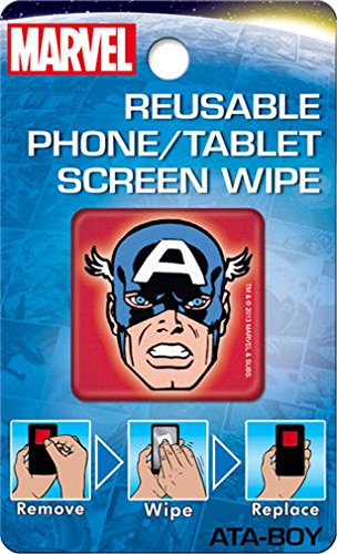 Price comparison product image Ata-Boy Marvel Comics Reusable Phone and Tablet Screen Wipe,  Captain America