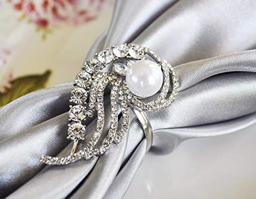 Wedding Linens Inc. (12 PCS Rhinestone Napkin Rings Swirl Pearl for Wedding Party Banquet Events