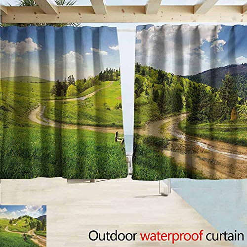 AndyTours Exterior/Outside Curtains,Landscape Hillside Meadow Cloudy Sky Fence Near The Cross Road with Fir Trees on Both Sides,Rod Pocket Energy Efficient Thermal Insulated,W55x72L Inches,Green Blue