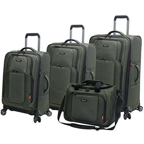 Pathfinder Luggage Presidential 4 piece Spinner Suitcase Set (Olive)