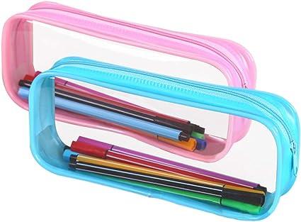 GOWE Estuche de Lápices Liso - 2 Piezas de Gran Capacidad Estuche Escolar Transparente Bolsa de Maquillaje Cremallera de PVC Papelería Almacenamiento de Cosméticos(20*8*3.5 cm), rosa + azul / 2 piezas: Amazon.es: Oficina y papelería