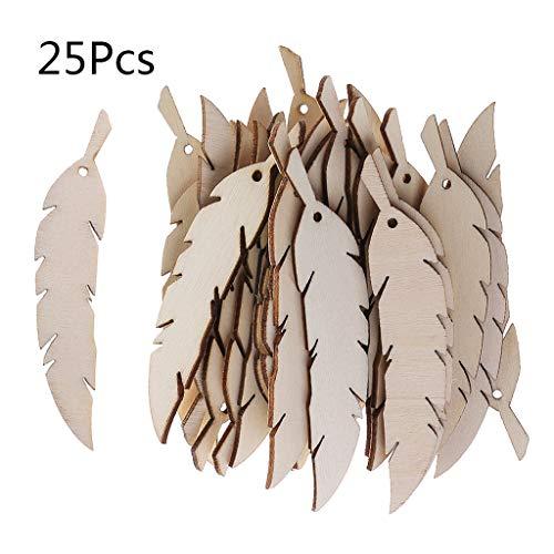 Su Qiao Natural Wood Slices 25pcs Laser Cut Wood Feather Embellishment Wooden Shape Craft Wedding Decor
