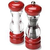 """Olde Thompson 3521-23-0-0 Pepper Mill & Salt Shaker Set, 7"""", Red/Clear"""
