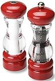 Olde Thompson Pepper Mill & Salt Shaker Set, 7', Red/Clear