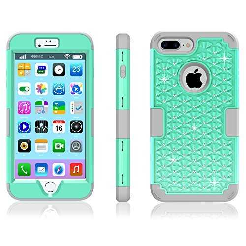 iPhone 7 Plus Case, Speedup Diamond Studded Crystal Rhinestone 3 in 1 Hybrid Shockproof Cover Silicone and Hard PC Case for Apple iPhone 7 Plus (2016 Released) (Mint Green + (Silver Three Cent Piece Good)