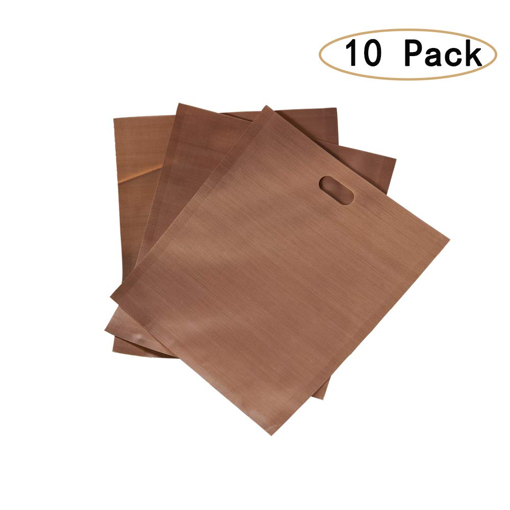 TILON 10 Pack Reusable Healthy Toaster Bags, 500°F or 260°C Heat Resistant Non-stick for Bread Sandwich Grilled Cheese French fries, FDA Approved, Easy to Clean