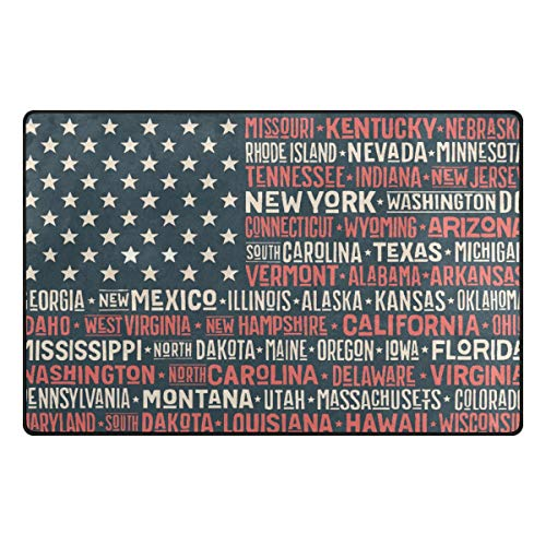 Creative USA Flag Non Slip Area Rug Memory Foam Mat Indoor Doormat Rug for Chair Office and Home Decorative Floor 31x20 or 60x39 inch - Flowers Heys Usa