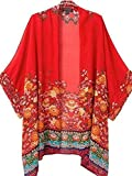 Sipaya Summer Beach Bikini Cover up Vintage Floral Cardigan for Women Red S