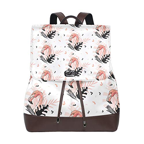 Fashion Shoulder Bag Rucksack PU Leather Women Girls Ladies Backpack Travel Bag Abstract Tropical Leaves Flowers (60 Tablets Reveal)