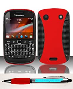 Accessory Factory(TM) Bundle (the item, 2in1 Stylus Point Pen) For Blackberry Told Touch 9900 9930 (AT&T) Rubberized Hybrid Case Cover Protector - Red HYB
