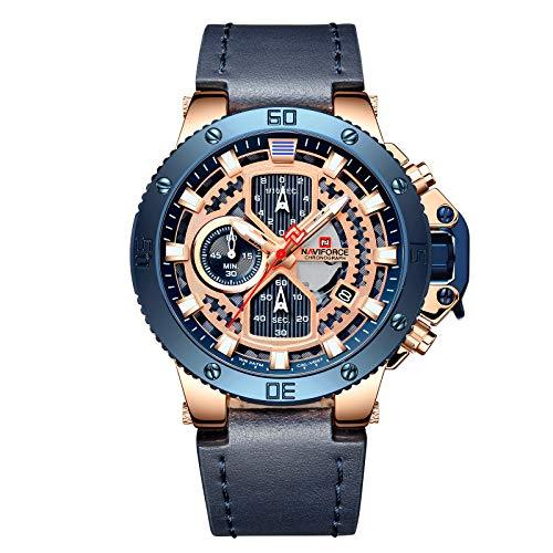 NAVIFORCE Sport Watches for Men Waterproof Luxury Watch Chronograph Quartz Leather Business Date Clock Wristwatch (Yellow) (Blue)