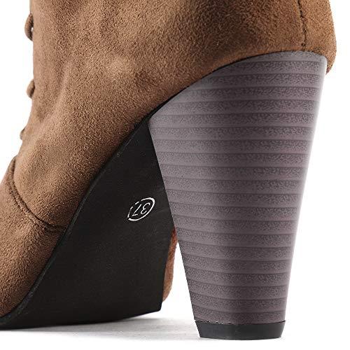 Altas Martin Negro De Color Plana Largo Sólido Mujer Pierna Botines Mujer Botas Invierno Otoño Casual Zapatos Casuales Marrón Plano Alta Alto returom Largas Ante R8qRw
