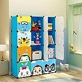 MAGINELS Kids' Toy Storage Cube Organizer for Children Bookcase Cabinet Blue Cartoon 12 Cube