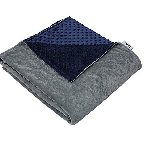 ZonLi Removable Duvet Cover for Weighted Blanket | Grey/Navy | Minky Dot Duvet Cover | 48''x72''