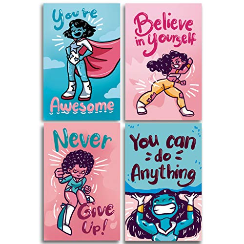 Throwback Traits Girls Room Decor Posters for Girls. Super Powerful Girls with Motivational Inspirational Quotes for Teens and Girls! Great Gifts for Daughter Bedroom Wall Decor. Set of 4 11x17 ()