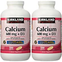Kirkland Signature Calcium 600 mg + D3 For Strong Bones and Teeth 500 Tablets Each (PACK OF TWO)
