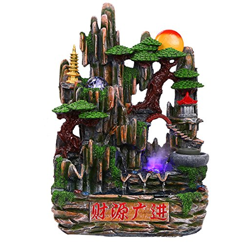 Mountain Water Micro Landscape Landscape Decoration Water Fountain Crafts Gifts Resin Bonsai Waterscape Decoration Artwork