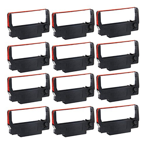myCartridge ERC-30 Compatible Ink Ribbon Replacement for Epson ERC 30/34/38 ( Black/Red, 12 Pack )
