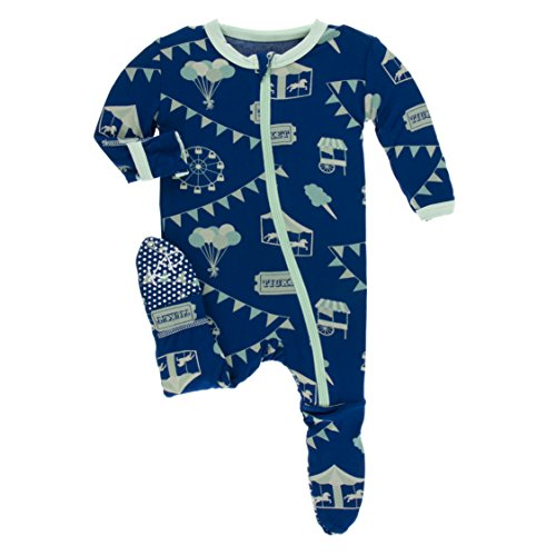 Kickee Pants Little Boys Print Footie With Zipper - Flag Blue Carnival, 9-12 -