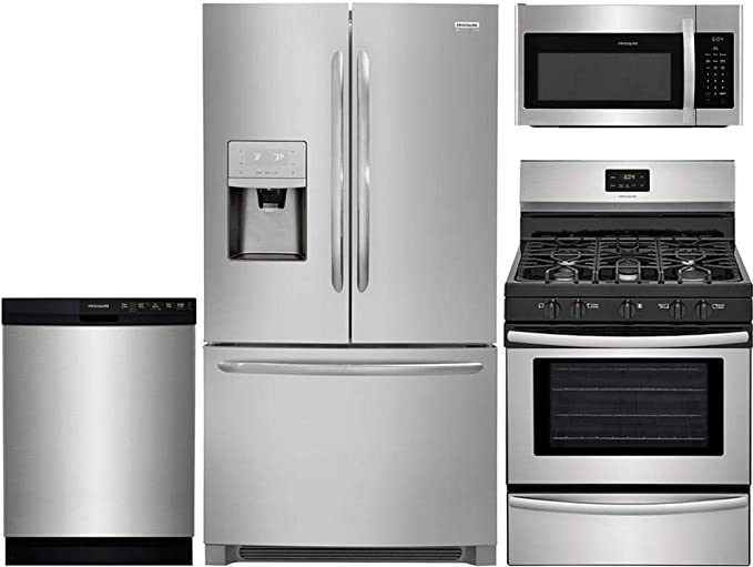 Amazon Com Frigidaire 4 Piece Stainless Steel Kitchen Package With Fghd2368tf 36 French Door Fridge Ffgf3052ts 30 Freestanding Gas Range Ffbd2412ss 24 Full Console D W And Ffmv1645ts 30 Over The Range M W Appliances