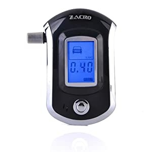 Zacro alcoholímetro digital con Nano semiconductores Sensor y LCD Digital Breath Alcohol Tester, incluye 10 boquillas desechables