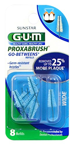 Sunstar 614D GUM Proxabrush Go-Betweens Wide Refill, Nylon Triangular Shaped Bristle, Pack of 8