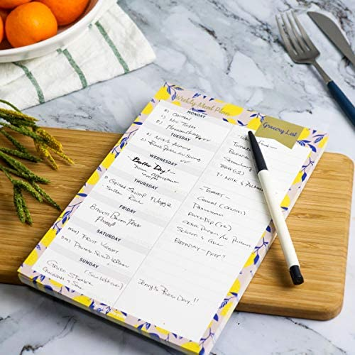 "Oriday Weekly Magnetic Meal Planner Notepad with Tear Off Perforated Grocery Shopping List Checklist for Fridge Door, Kitchen - 52 Sheets, 6"" X 9"" - Perfect for Weekly Diet Prep (Menu Planning Pad) 4"