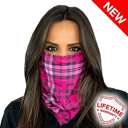 SA Company Face Mask Shield Protective Balaclava Bandana MicroFiber Tube Neck Warmer - Pink Plaid
