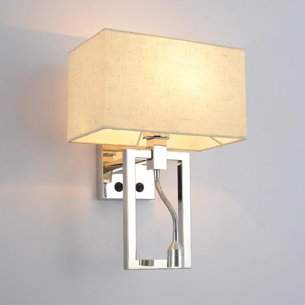 Modern bedroom bedside reading wall lamp stainless steel fabric shade 3WLED wall lamp