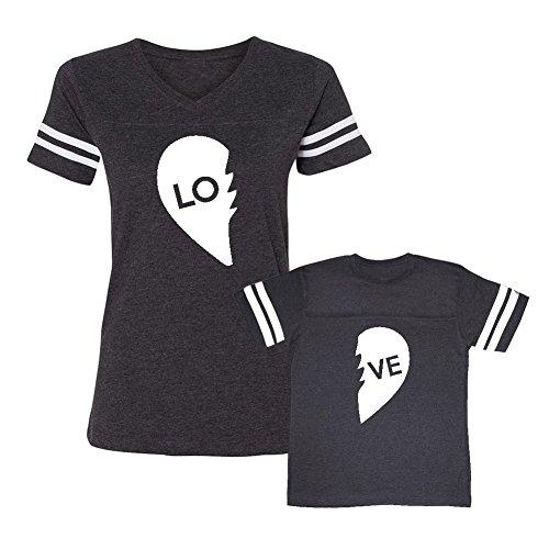 Heart 2 Part - We Match! LO - VE - Two Parts of A Heart = Love Matching Women's Football V-Neck T-Shirt & Child T-Shirt Set (Youth Medium T-Shirt, Women's Football T-Shirt Medium, Smoke)