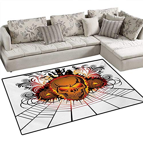 Halloween Bath Mats Carpet Angry Skull Face on