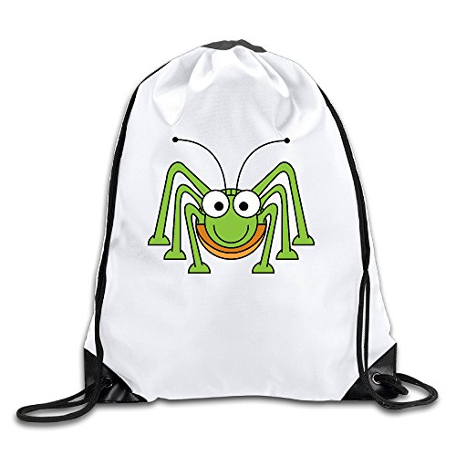 - Cartoon Grasshopper Clipart 100% Polyester Fiber Drawstring Backpack Bag One Size
