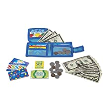 Melissa & Doug 2388 Pretend-to-Spend Toy Wallet with Play Money and Cards, 45 Pieces
