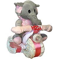 Tarta de pañales Dodot - Moto Elefanta rosa