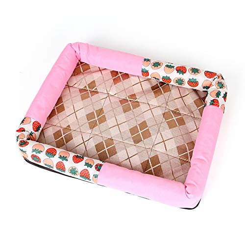 NOMSOCR Breathable Materia Soft Cushion Bed for Dog and Cat, Pet Sofa Bed Deluxe Basics Padded Pet Bolster (Pink, 22.5x26.3inch)