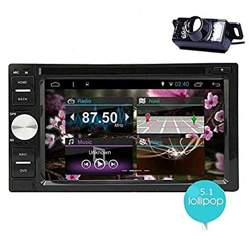 EinCar Android Double Din in Dash Vehicle GPS Car Radio Audio System 6.2 Inch Touch Screen Car Stereo DVD CD Player with Bluetooth WiFi Navigation System & Rear Camera