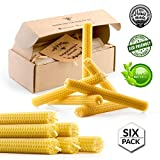 Beeswax Taper Candles 8 inch Tall Handmade Pure Bees Wax Tapers - Lead Free Cotton Wick - Six Pack - Original Bee Hive Candle for Home Décor, Meditation, Relaxation - no Petroleum - Hypoallergenic