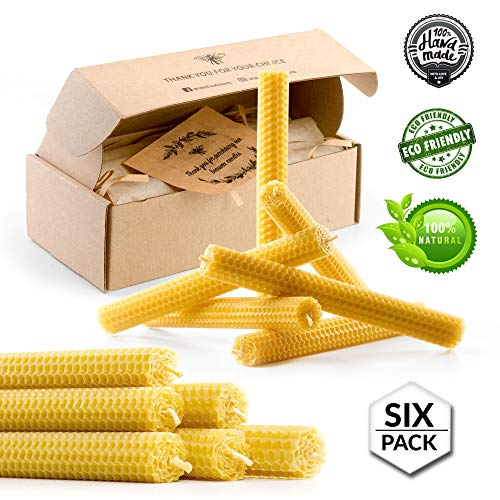 (Beeswax Taper Candles 8 inch Tall Handmade Pure Bees Wax Tapers - Lead Free Cotton Wick - Six Pack - Original Bee Hive Candle for Home Décor, Meditation, Relaxation - no Petroleum - Hypoallergenic)