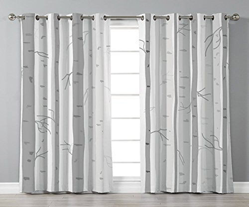 Thermal Insulated Blackout Grommet Window Curtains,Grey,Birch Trees in Autumn Fall Branches Forest with Soft Colors Modern Graphic Print Decor Decorative,Ash Gray,2 Panel Set Window Drapes,for Living