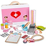 Life&Fun Wooden Doctor Kit Pretend Medical Play Set for Preschool Kids Boys and Girls