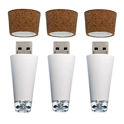 LED Wine Bottle Light, Rechargeable USB Cork Shaped Light for Party, Christmas Lights, 3 Pack by GoldenHill