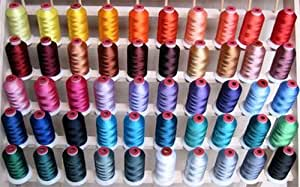 50-cone Polyester Embroidery Thread Kit - 50 colors - 1100 yards - 40wt