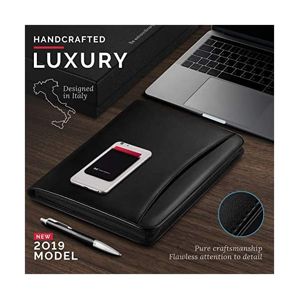 NERO-MANETTI-Zippered-Leather-PadfolioPortfolio-Pad-Holder-Business-PU-Vegan-Leather-Notepad-Folder-for-Resumes-Interviews-iPadTablet-Phone-Legal-Pad-Notebook-Executive-Binder-for-Women-Men