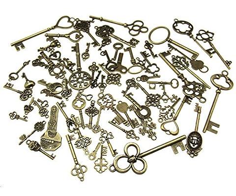 70pcs Skeleton Antique Keys Vintage Bronze Pendants Old Fashion Decor Gift - Crown Slider Charm