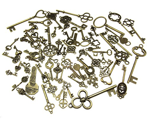 70pcs Skeleton Antique Keys Vintage Bronze Pendants Old Fashion Decor Gift