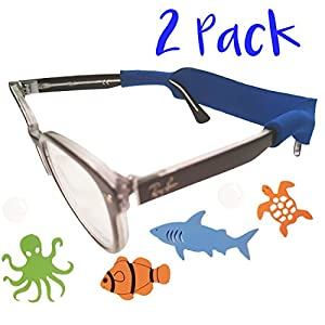 Kids Glasses Strap 2pk with Bonus Deep Sea Adventure Stickers (Blue+Red)