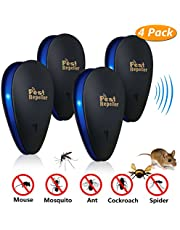 Emooqi Ultrasonic Pest Repeller(4 Pack), 2019 New Upgrade Electronic Rodent Control Plug-In Indoor/Outdoor | 100% Family Friendly - Repels Cockroach,Mice, Bed Bugs, Mosquitoes,Flies