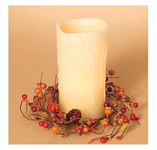 Berry Pillar Candle Ring - Gerson 10 Inches Diameter Pumpkin Candle Ring Home Decorations