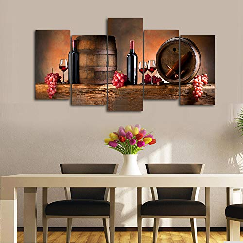 Cao Gen Decor Art-K60527 5 Panels Wall Art Fruit Grape Red Wine Glass Painting on Canvas Stretched and Framed Canvas Prints Ready to Hang for Dining Room Art Wall Decor Artwork