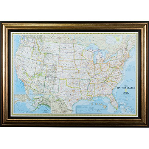 r, Classic United States Push Pin Travel Map, Antique Copper and Black Frame with Pins, 24 by 36-Inch ()